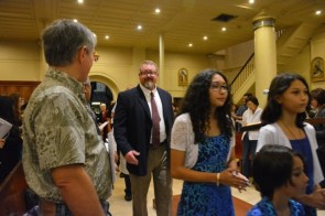 """The opening procession at the cathedral basilica represented """"Community Working for Peace."""""""