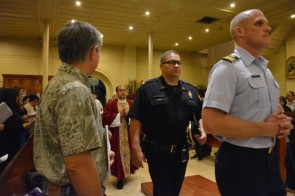 Police and military presence honored Our Lady.