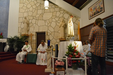 Veneration at St. George Church in Waimanalao, Feb. 2.